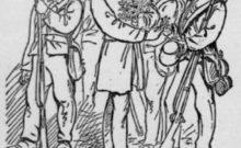 Officers distributing the green boxwood sprigs to the Irish Brigade at Fredericksburg (Klem, The National Tribune)