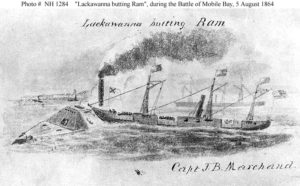 USS Lackawanna in action during the Battle of Mobile Bay (Naval Historical Center)