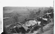 An image exposed by Irish photographer Timothy O'Sullivan of Union troops entrenched on the northern side of the North Anna on 25th May 1864. The day before John Heron had been shot on the south side of the river (Library of Congress)