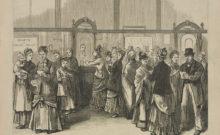 Irish emigrants sending money back to Ireland from the Emigrants Savings Bank in 1880 (Library of Congress)
