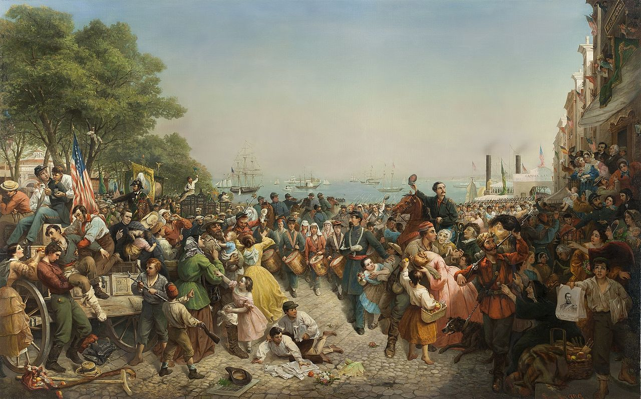 The Return of the 69th New York, 1861 by Louis Lang. Thomas Madigan had been anticipating such a homecoming before Bull Run (New York Historical Society)