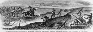 A Cheyenne attack on railroad workers in 1867 (Harper's Weekly)