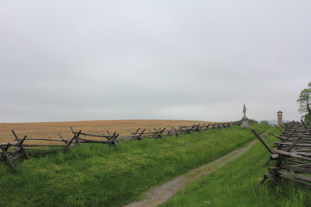 21. General view of the Sunken Lane held by Confederate troops engaging the Irish Brigade in the cornfield beyond.