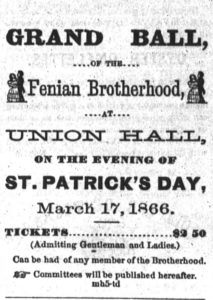 Advertisement for the Fenian Ball in Union Hall, San Francisco, St. Patrick's Say 1866, replete with dancing couple (San Francisco Chronicle)