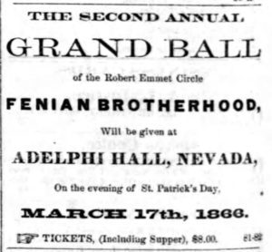 Advertisement for the St. Patrick's Day Fenian Ball in Nevada City, 1866 (The Montana Post)