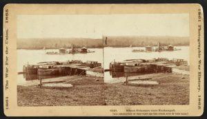 The USS Onondaga at Aiken's Landing during a prisoner exchange (Library of Congress)