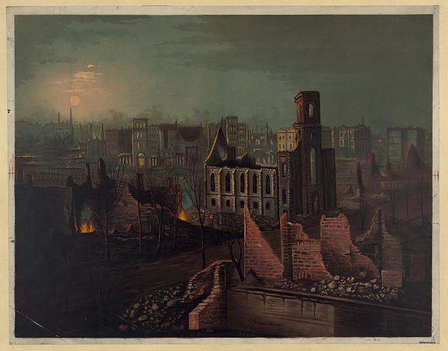 Just two years after giving their affidavits, the Great Fire destroyed much of Chicago, a scene the young Castleisland men likely witnessed (Library of Congress)