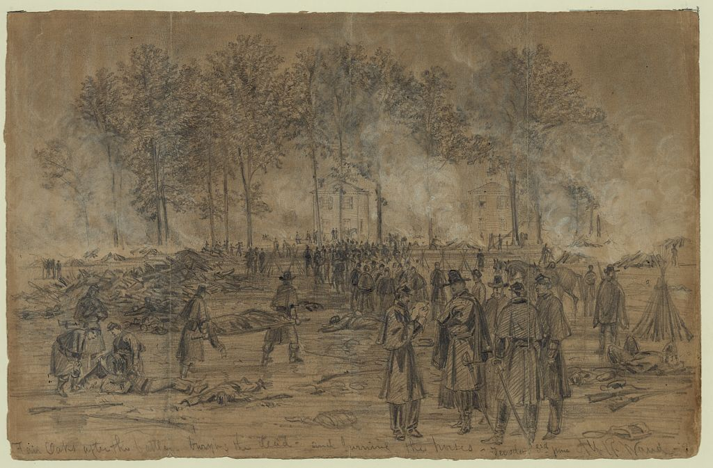 Burying the dead after the Battle of Fair Oaks (Library of Congress)