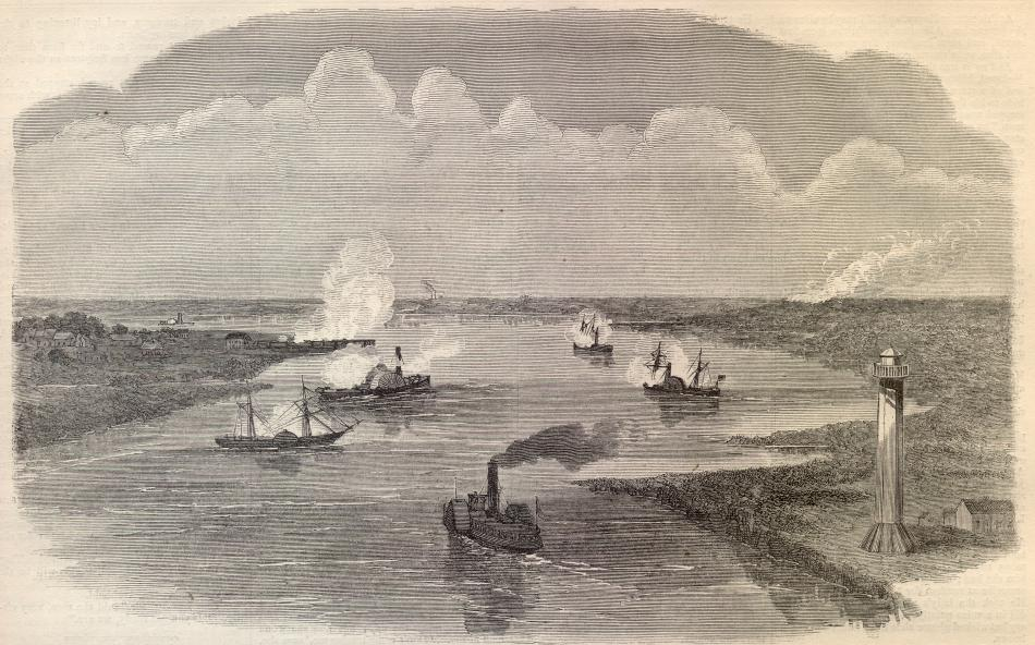 The Battle of Sabine Pass in which the USS Granite City participated (Contemporary Sketch)