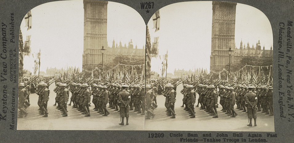 """A stereoscope of American troops in London with the caption """"Uncle Sam and John Bull Again Fast Friends- Yankee Troops in London."""" It was the bonds formed in the First World War that directly led to efforts in the North-East in the 1920s to remember local American Civil War Veterans (Library of Congress)"""
