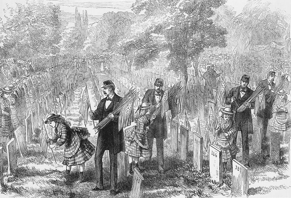 Memorial Day or Decoration Day originally grew out of the sacrifice of Union troops in the American Civil War. This 1876 engraving shows orphans decorating their father's graves in Philadelphia (Library of Congress)