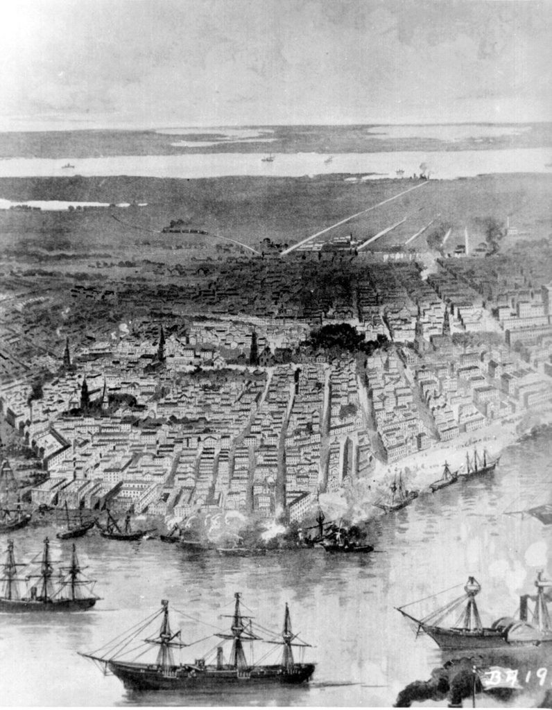 New Orleans with the Union fleet at anchor, 1862 (Campfires & Battlefields, 1894)
