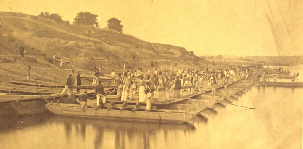 """""""Pontoon Drill by Conversion,"""" Engineer Brigade (15th & 50th NY Engineers) (New York State Military Museum)"""