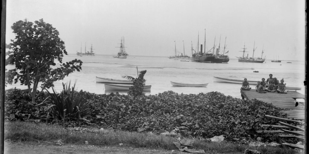The USS Philadelphia and other vessels of Apia, Samoa Photography by Kerry and Co. Tyrrell Collection, Museum of Applied Arts and Sciences)