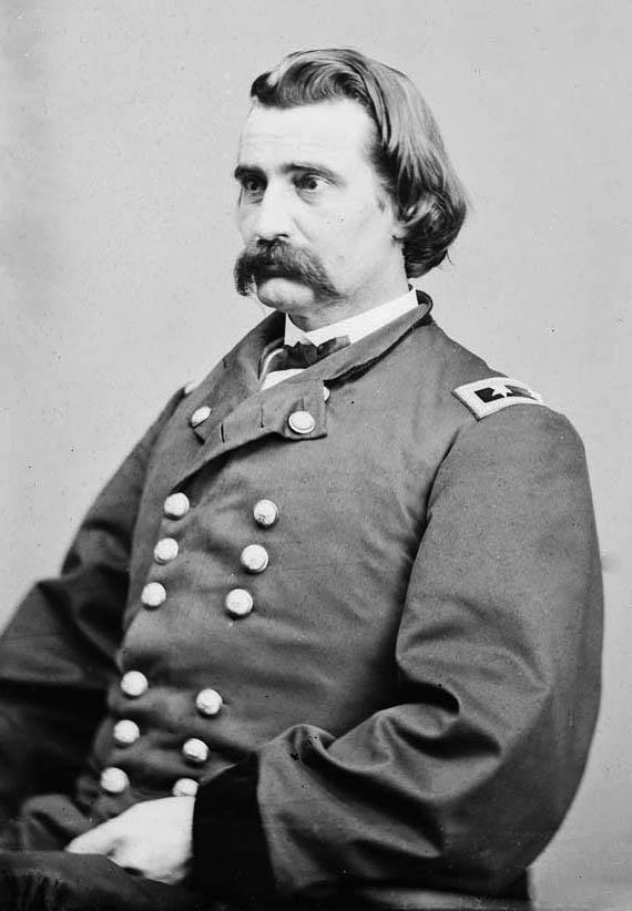 "General John A Logan. ""Black Jack"" took Luke Madden's grey horse during 1863 (Army Historical Foundation)"