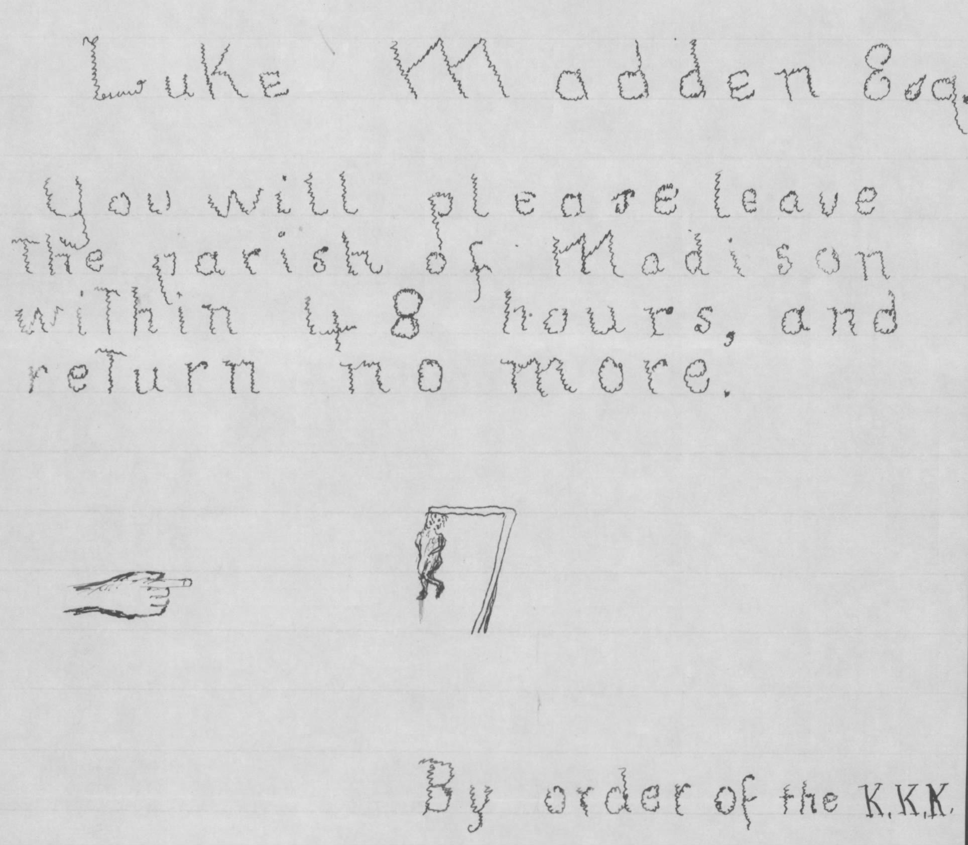 Luke Madden KKK Warning