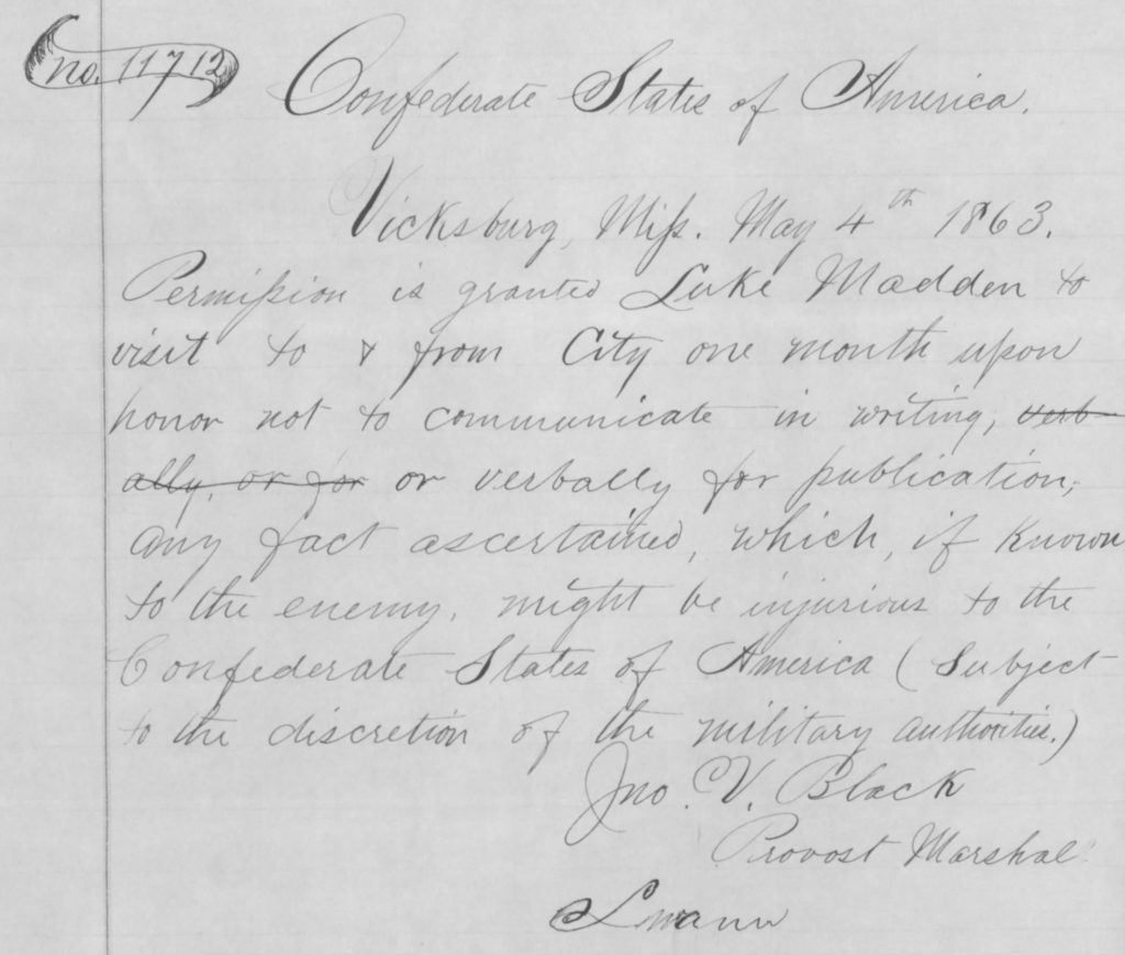 Copy of the 1863 Confederate Pass issued to Luke Madden (NARA)
