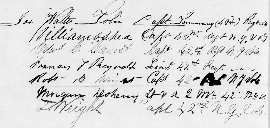 Signatures of officers of the 42nd New York appended to a promotion request in 1863. Among them are William O'Shea, Jas. Walter Tobin and Morgan Doheny (NARA M1064. Letters and their enclosures received by the Commission Branch of the Adjutant General's Office, 1863-70)