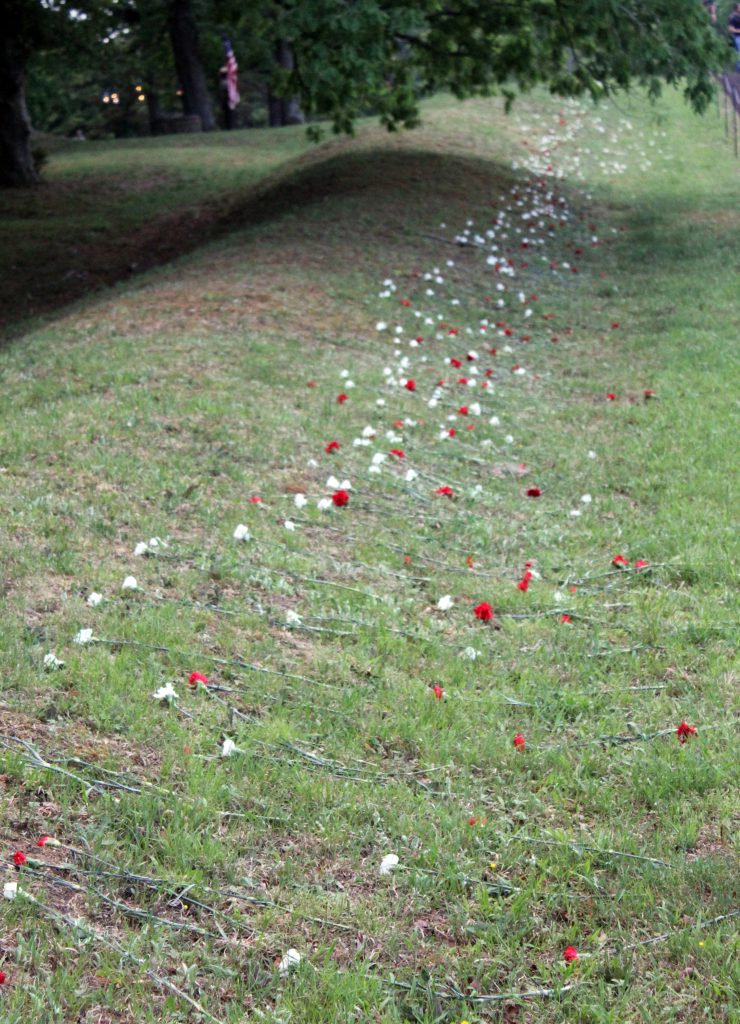 Flowers spread along the remains of the Bloody Angle at Spotsylvania's Mule Shoe Salient to remember the dead during the 150th commemorations of the engagement on 12th May 2014 (Damian Shiels)