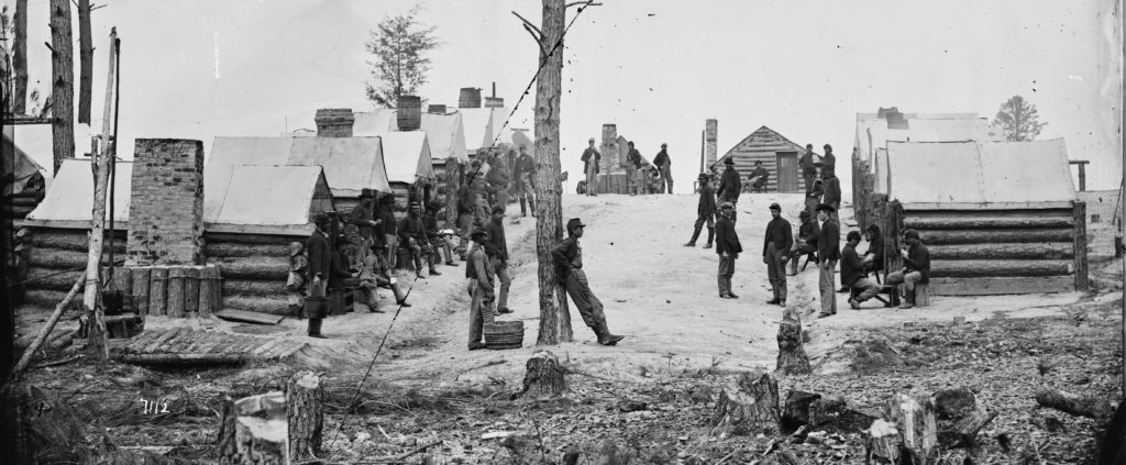 Men from Oneida County, New York outside Petersburg during the American Civil War (Library of Congress)