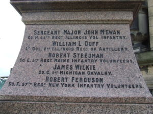 Detail of soldier's names on the Old Calton memorial