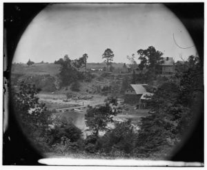 Jericho Mills, Virginia. Looking up the North Anna river from the south bank, with a canvas pontoon bridge and pontoon train on the opposite bank, May 24, 1864 (Timothy O'Sullivan/ Library of Congress)