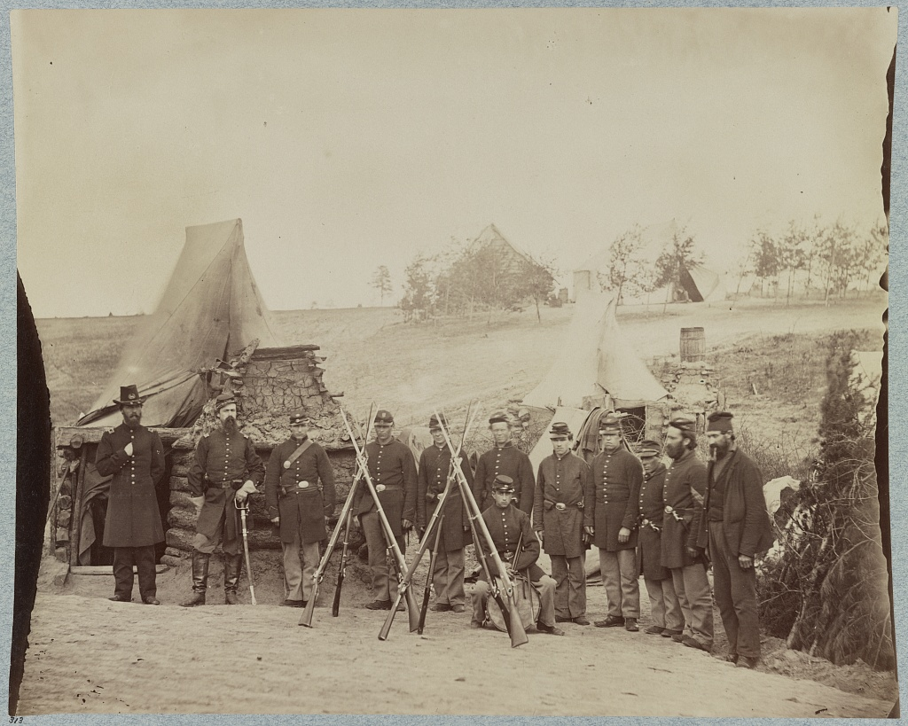 Felix's former comrades of Company D, 61st New York Infantry, as they appeared in the Spring of 1863 (Library of Congress)
