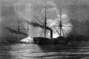 The USS Hatteras engaged with the CSS Alabama off Galveston, Texas in January 1863. One of the Donaghmore Sharkey's was aboard the Hatteras and was captured as a result of this action (U.S. Navy)