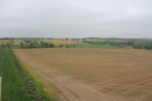 26. A final general view from the Observation Tower incorporating the Sunken Lane at left (marked by fence line) and the field across which the Irish Brigade advanced at right.