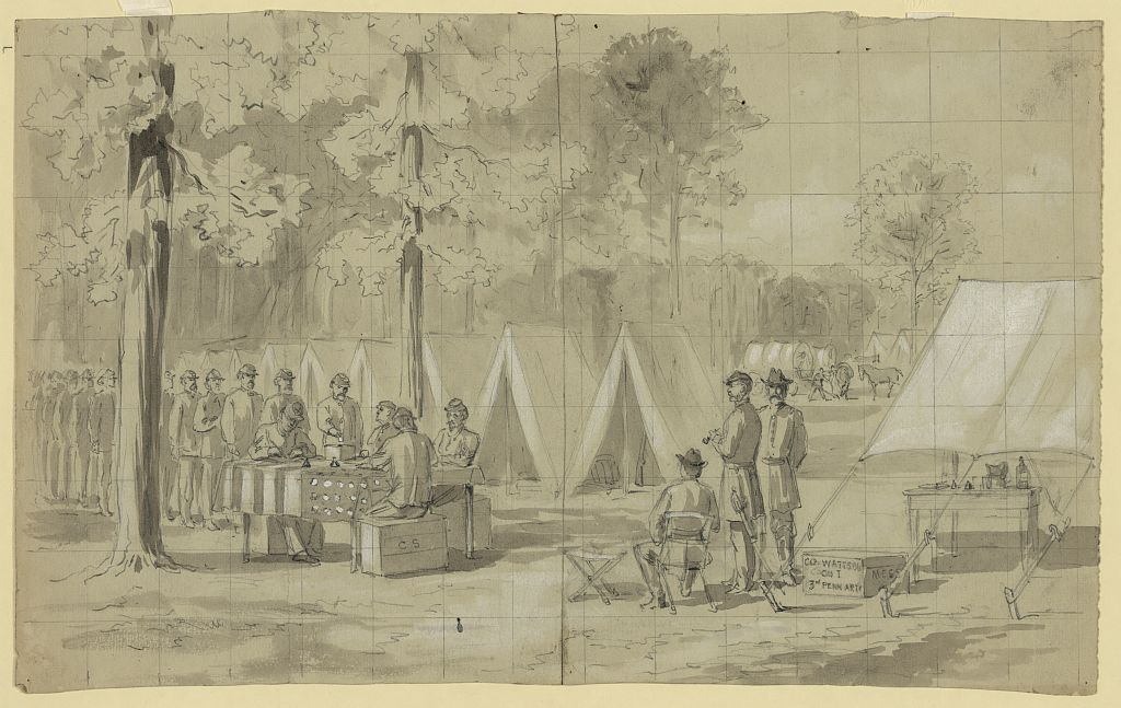 Pennsylvania soldiers of the Army of the James voting in the 1864 Presidential election (Library of Congress)