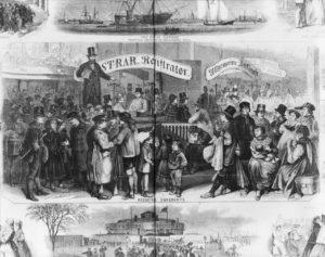 Immigrants in Castle Garden, New York in 1866 (Library of Congress)