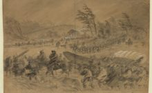 The Mud March as described by William McIntyre, drawn by Alfred Waud in 1863 (Library of Congress)