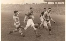 Denny Lyne, Paddy Bawn Brosnan, J J Nerney and Eddie Boland in the 1946 All Ireland Final between Kerry and Roscommon (The Kerryman)
