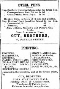 An advertisement for Guy Brothers Printers in Cork from the time David Mulcahy worked there, dated 14th January 1857. David worked in the Patrick Street Warehouse (Cork Advertising Gazette)