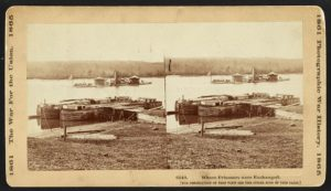 The USS Onondaga at Aiken's Landing during a prisoner exchange (Library of Congress)