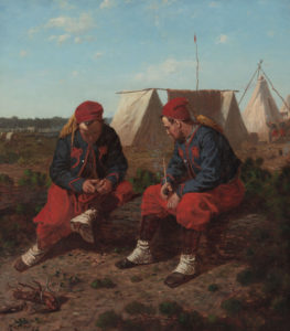 The Brierwood Pipe by Winslow Homer, 1864. This depicts the 165th New York's sister regiment, the 5th New York, but their uniforms were almost identical (Cleveland Museum of Art CVL491292)
