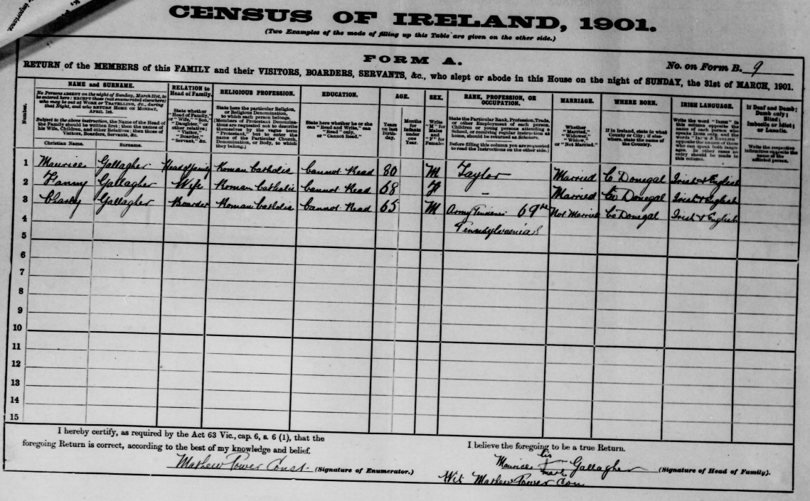 The 1901 Census of Ireland entry for Charly Gallagher, a veteran of the 69th Pennsylvania Infantry- Click to go to original record (National Archives of Ireland)