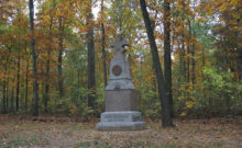 Second Wisconsin Infantry Memorial in the Herbst Woods, Gettysburg (Damian Shiels)