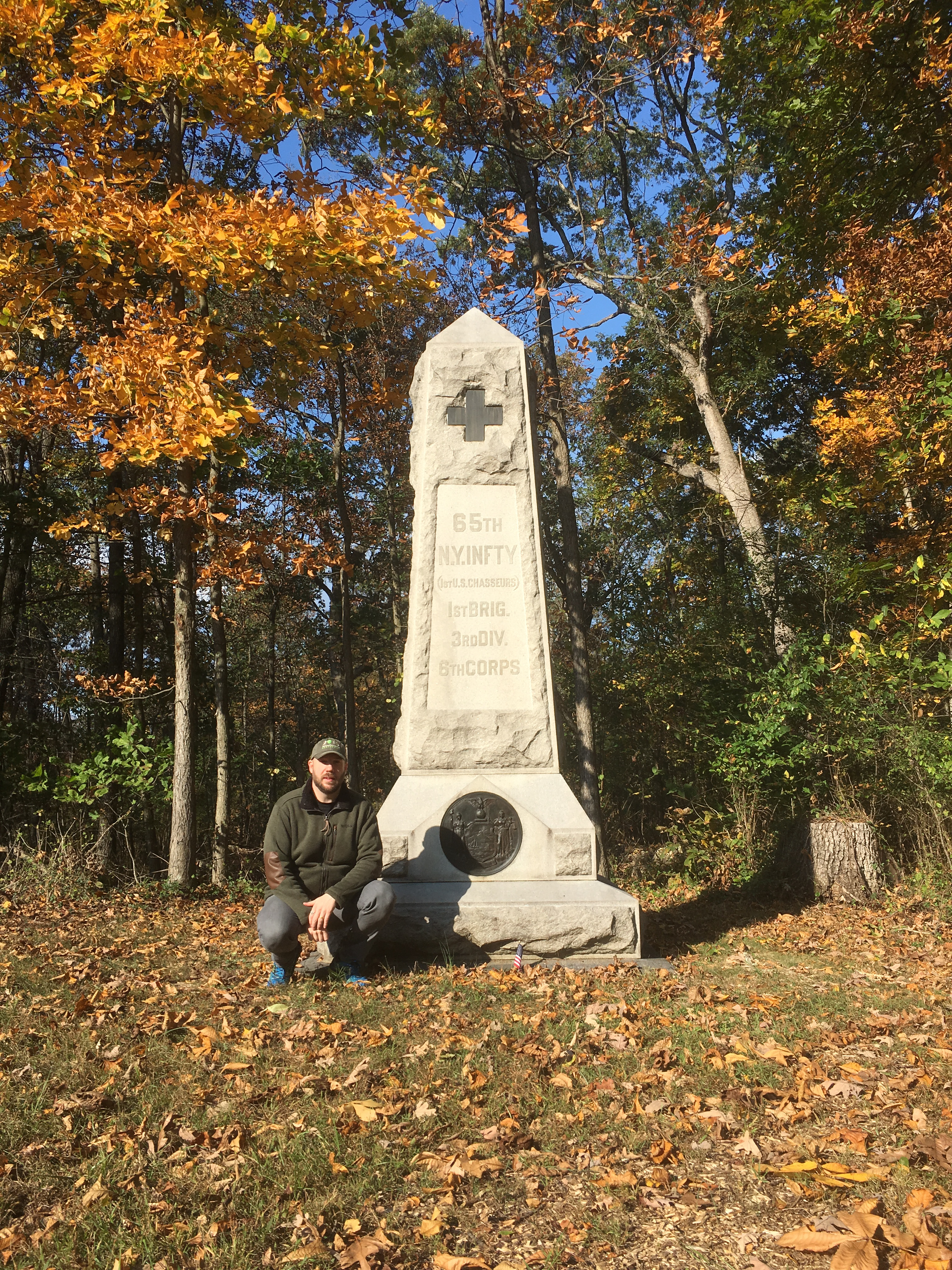 The monument to the 65th New York at Culp's Hill, Gettysburg, which I took the opportunity to visit on my recent trip. Both John Clark and John O'Brien died as a result of artillery bombardment not far from this spot (Damian Shiels)