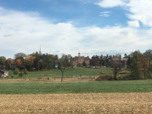 The Lutheran Seminary as seen from Herbst Woods, ground traversed and fought over by the Second Wisconsin at Gettysburg (Damian Shiels)