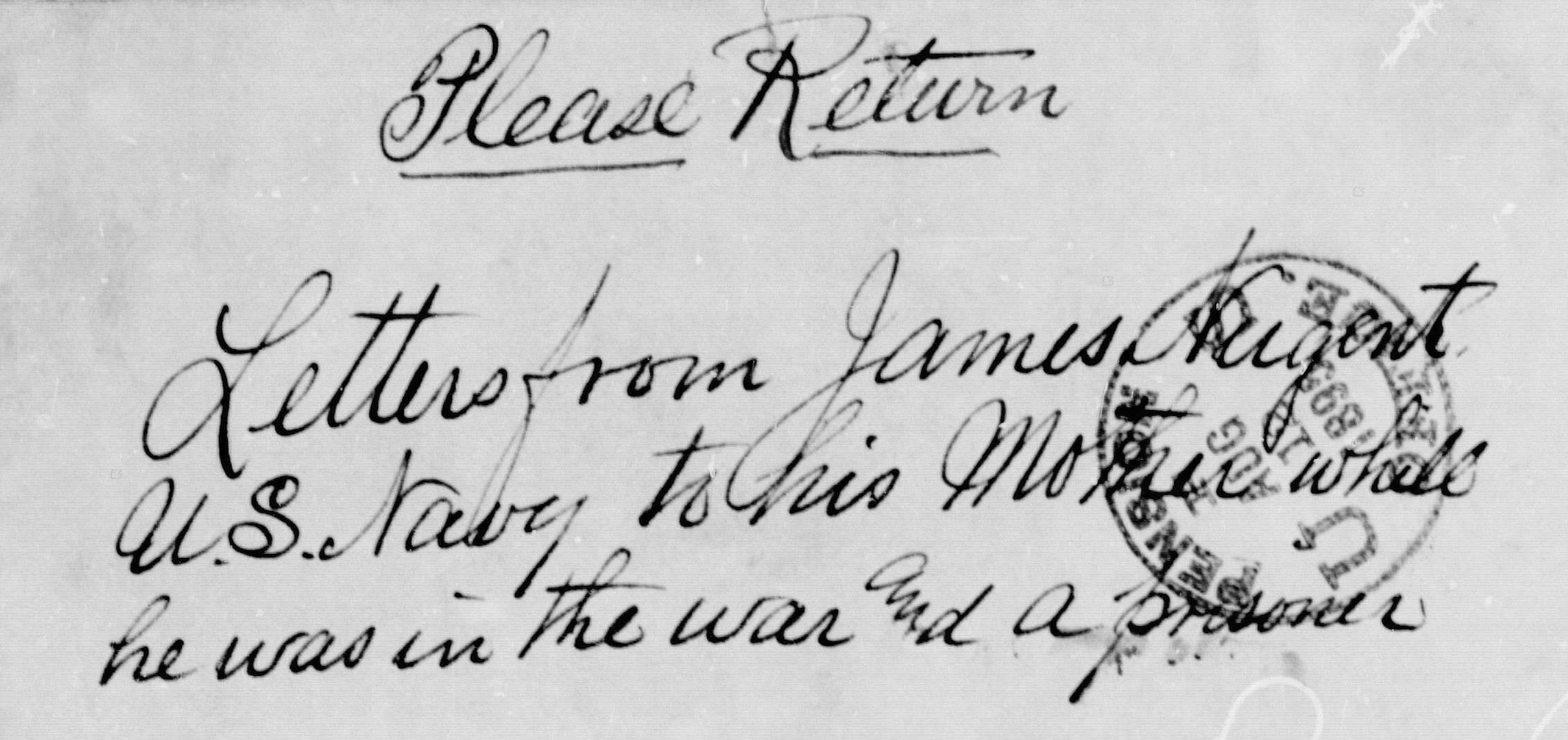 Inscription on package of letters in James NUgent file, asking they be returned (NARA/Fold3)