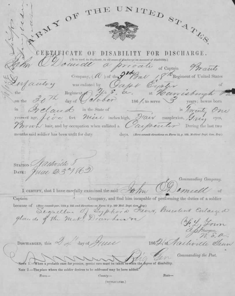John O'Donnell's discharge from the army (NARA/Fold3)