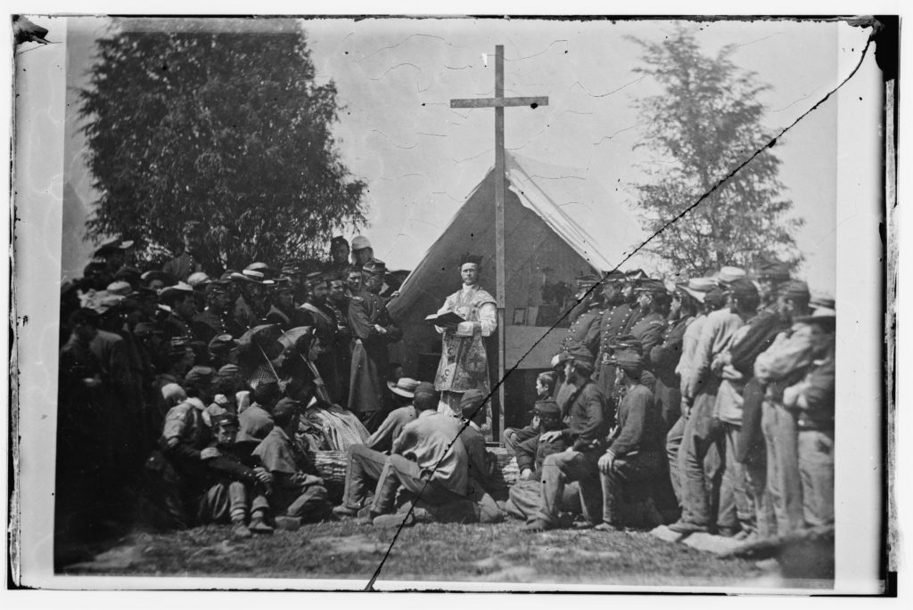 Sunday Morning Mass, Camp of 69th New York State Militia, For Corcoran, Arlington Heights, Virginia, 1 June 1861. (Library of Congress: LC-DIG-cwpb-06586)