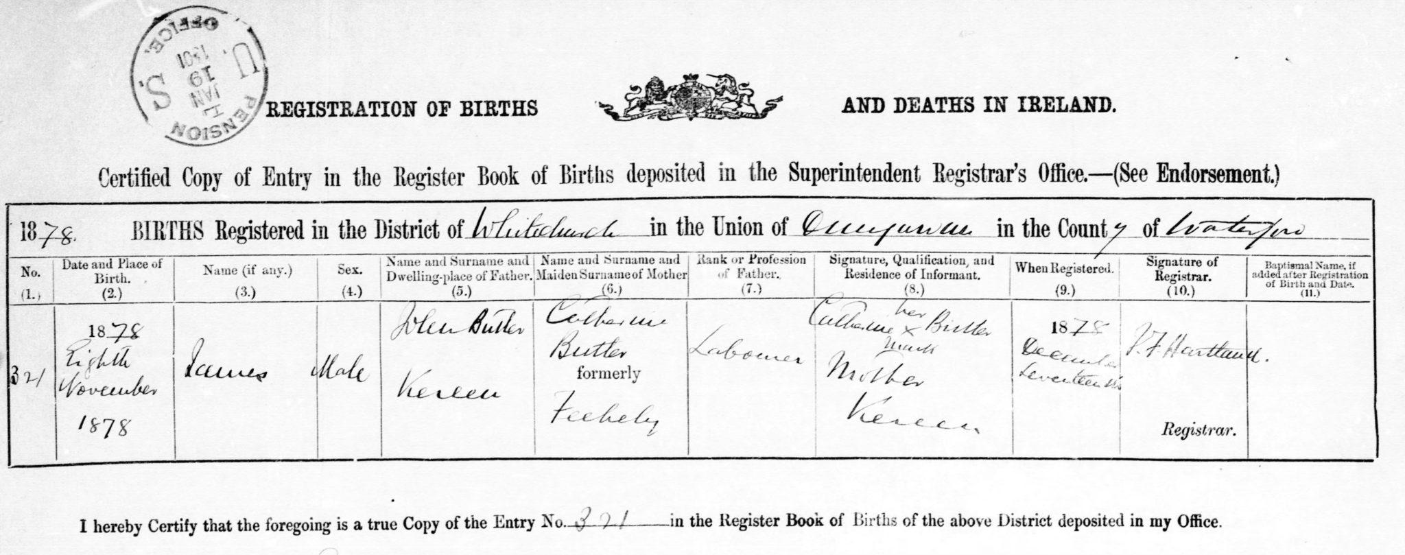 James Butler Birth Certificate