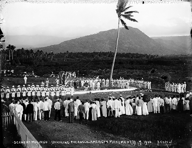 Unveiling of a monument at Mulinu'u, Upolu to the dead American and British sailors, on which James is named. Taken on 29 July 1900 by Thomas Andrew (Museum of New Zealand)