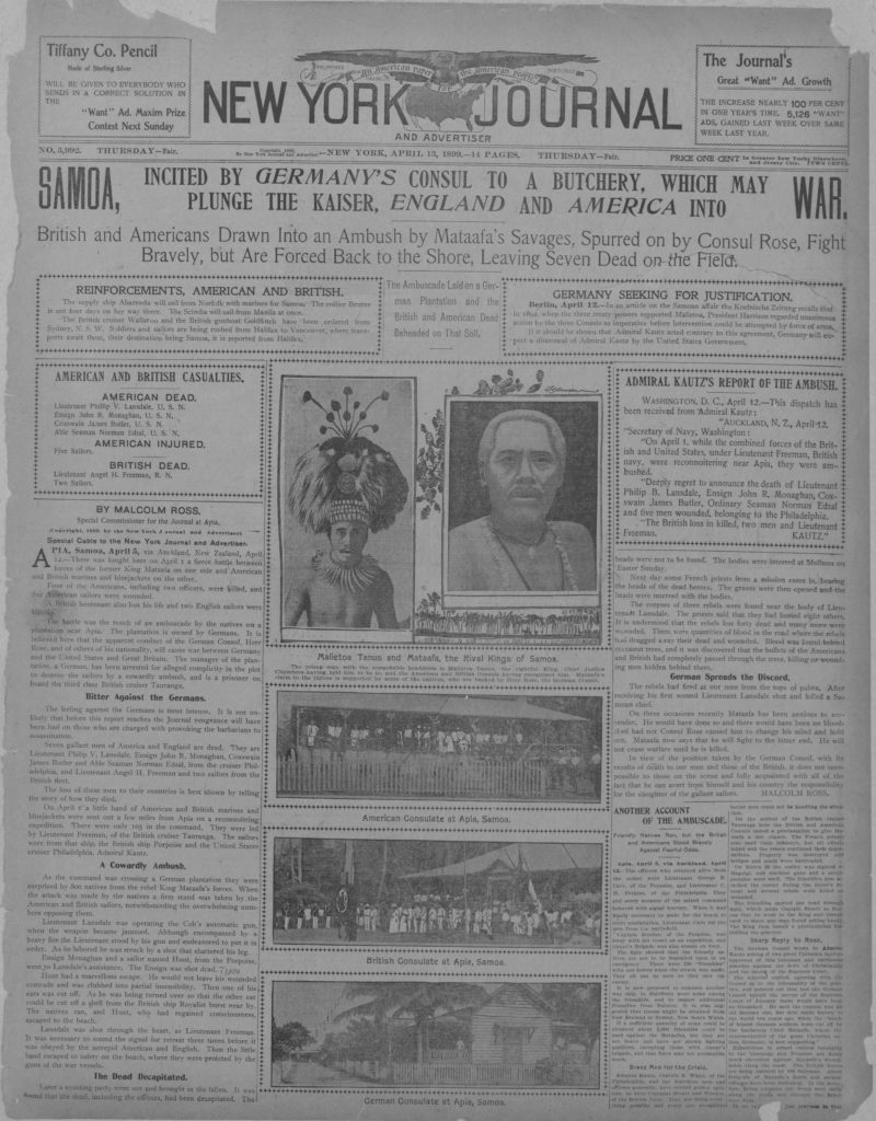 The New York Journal frontpage, breaking news of the fighting in Samoa. James Butler is mentioned in the report (Library of Congress)