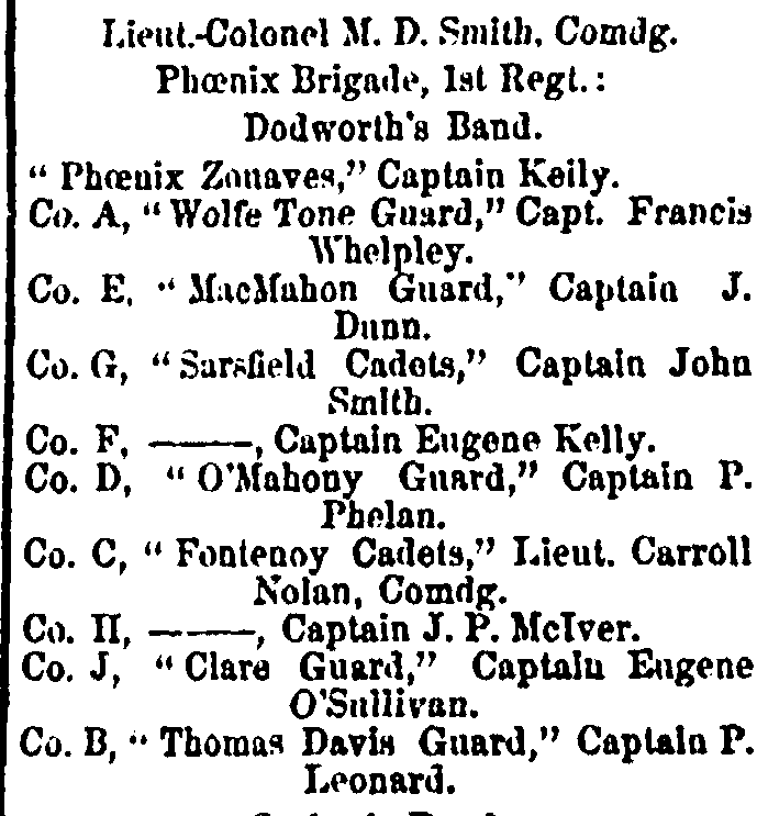 "The makeup of the New York based ""Phoenix Brigade"" of Fenians which marched in the St. Patrick's Day parade of 1861 (New York Irish American Weekly 23rd March 1861)"