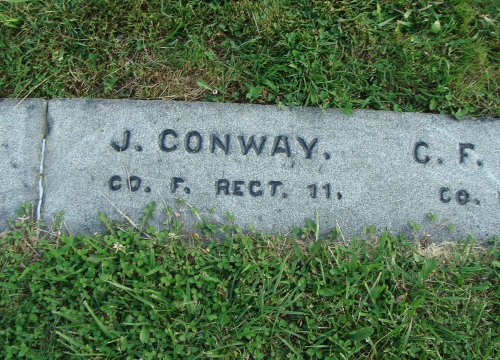 The grave of Private John Conway at Gettysburg National Cemetery. A native of Doon, Co. Limerick, he was mortally wounded on 2nd July 1863 while serving with the 11th United States Infantry, 2nd Brigade, 2nd Division, 5th Corps (Find A Grave:OPPSheryl)