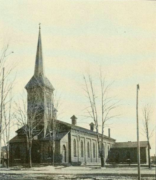 St. Patrick's Catholic Church in Seneca Falls as it appeared in 1904 (Grip's Historical Souvenir)