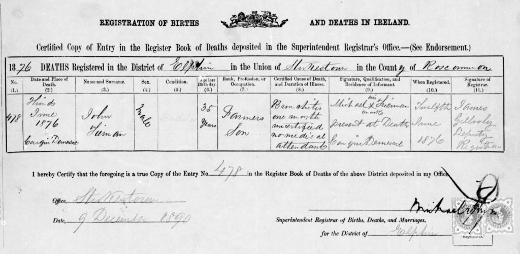 John's death certificate from 1876 (NARA)